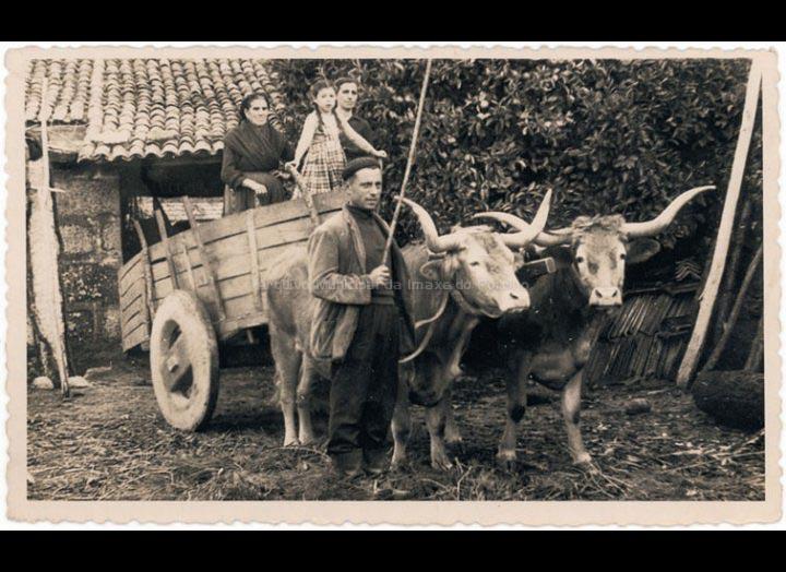 Familia Vila co carro de bois para realizar faenas agrícolas. / Foto Balbino Ramírez [1940-1960 (?)] / PROCEDENCIA: Recollida Budiño. Album familiar Mª Carmen Lemos Domínguez