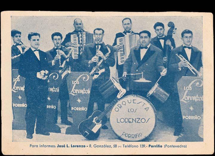 Tarxeta de presentación da Orquestra Los Lorenzos. / Autor descoñecido [1950-1960 (?)] / PROCEDENCIA: Recollida O Porriño. Álbum familiar de Pablo Lorenzo González