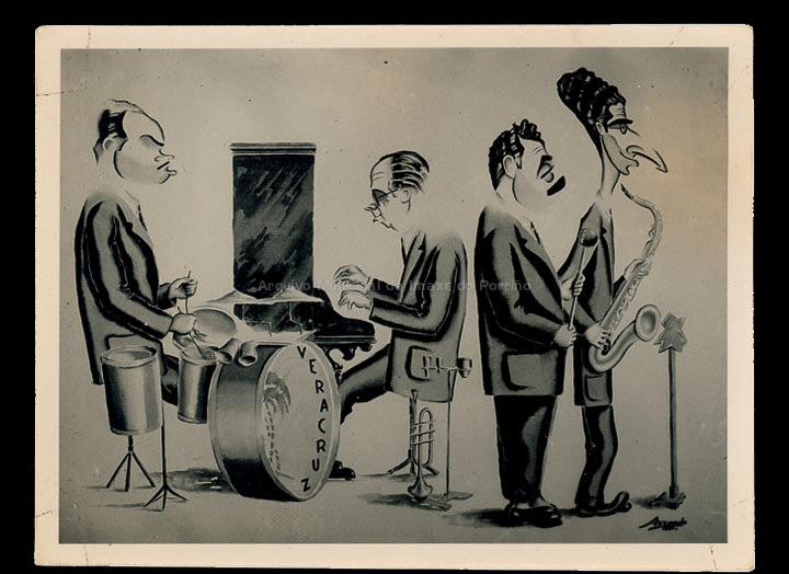 Caricatura dos compoñentes da Orquestra Veracruz, de Vigo, da que era compoñente Bernardo Giráldez del Campo. / Autor descoñecido [1945-1955 (?)] / PROCEDENCIA: Album familiar de Bernardo Giráldez Saborido