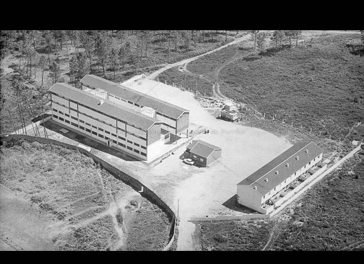 """Vista aérea da concentración escolar de Torneiros, hoxe colexio """"Antonio Palacios"""", en datas próximas a súa apertura. / Foat S. L. [Ca. 1971] / PROCEDENCIA: Cedida polo C.E.I.P. """"Antonio Palalcios"""""""