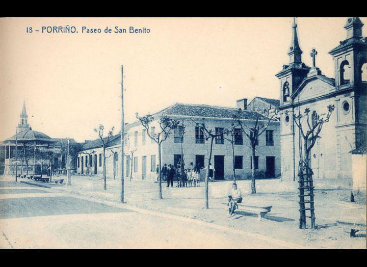 O Porriño. Paseo de San Bieito. Tarxeta Postal. / Fototipia Thomas (Barcelona) [1928-1929 (?)] / PROCEDENCIA: Recollida O Porriño. Album familiar de Victoria E. Troncoso Rodríguez