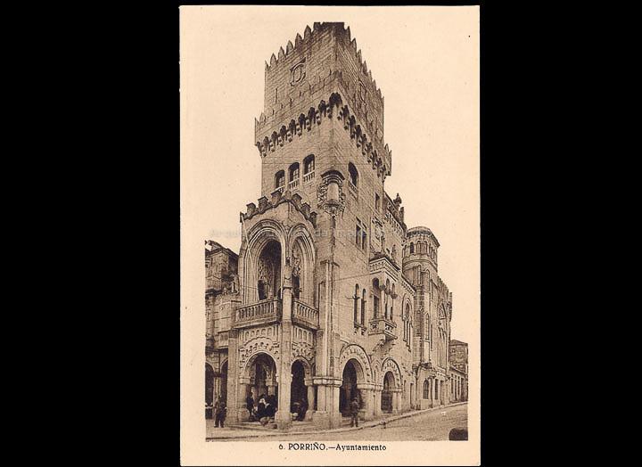Casa Consistorial do Porriño. Tarxeta postal. / L. Roisin, fotógrafo [Ca. 1929]