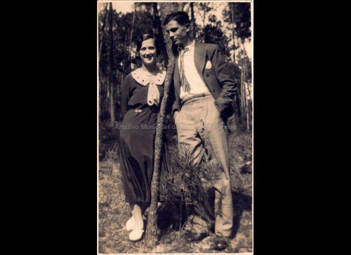 Josefa Casales Arias e Julián Sío Ortúzar de noivos. / Foto Sanchón [1930 - 1936] / PROCEDENCIA: Recollida O Porriño. Album familiar de Josefa Sío Casales