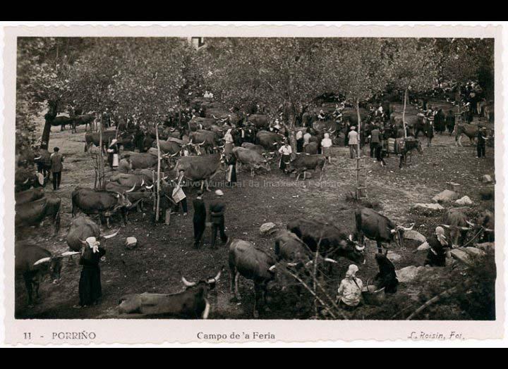 Campo da Feira do Porriño. Tarxeta Postal. / L. Roisin [1929 – 1930 (?)] / PROCEDENCIA: Recollida O Porriño. Album familiar de Josefa Sío Casales