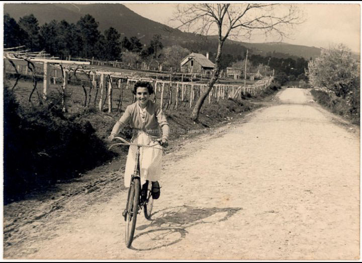 Carmen Lorenzo Doval nun paseo en bicicleta pola estrada de Mosende a Tui. / Autor descoñecido [1955] / PROCEDENCIA: Recollida Mosende. Album familiar de Isolina Lorenzo Doval