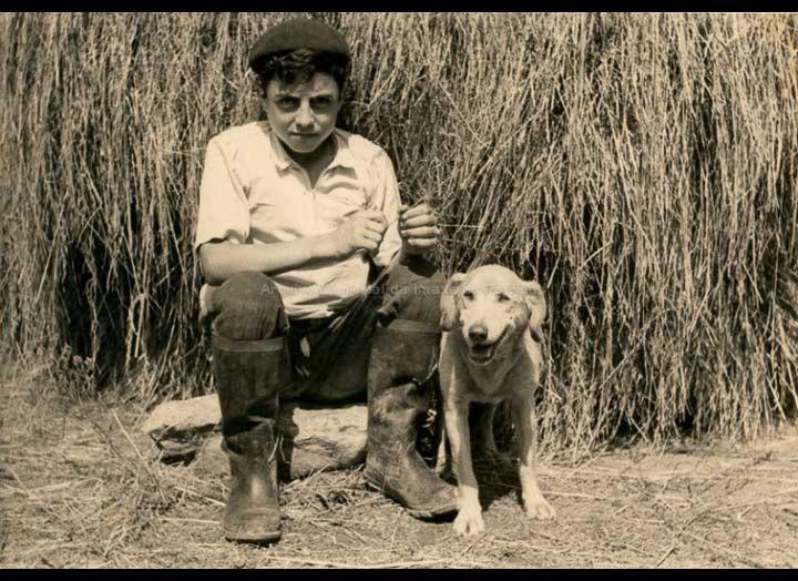 Manuel González Lorenzo sentado co seu can ao pé dunha meda. / Autor descoñecido/laboratorios Escuber [1950 – 1955 (?)] / PROCEDENCIA: Recollida Mosende. Album familiar de Mª Isabel Corbacho